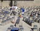 Panoramic view of the Tokamak pit . 493 plinths and 470 anti seismic bearings installed, March 2012.