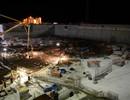 Night concrete pouring
