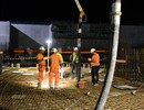 Night concrete pouring