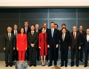 The King and Queen of Spain together with Dr J. Sanchez, Prof. M. Mori, Secretary of State C. Vela, Foreign Affairs Minister A. Dastis, and Ambassador G. de Benito.