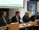 From left: Antoni Martinez (IREC), Josep Canòs (Generalitat de Catalunya), Frank Briscoe (F4E) and Miquel Barceló (bTEC) welcome the seminar attendees