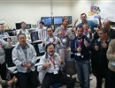Team photo in the LIPAc Control Room celebrating the successful acceptance test of the deuteron source designed and constructed by CEA