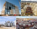 ITER construction highlights 2015 (Clockwise from top left: ITER Assembly Hall building; installation of ITER transformers; ITER bioshield; works in the galleries of the Cryoplant building).