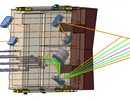 The upper antenna and mirrors will launch a microwave beam (1 MW at 60 GHz) into the plasma and records the scattered electromagnetic waves through the lower mirrors and receiver antennas.