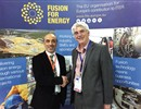 (L-R) Carlo Damiani, F4E Project Manager for ITER Remote Handling Systems congratulating Ian Grayson, Boiler Spine Programme Director of AMEC Foster Wheeler