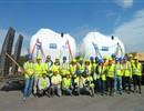 Representatives of F4E, Ensa, ITER IO welcoming on the ITER site the additional four water detritiation tanks that will be part of the fuel cycle system © ITER IO