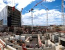 Panoramic view of the Tokamak complex consisting of the Tritium, Tokamak and Diagnostics buildings. Cladding progresses at the Assembly Hall. June 2016, F4E ©