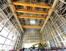The four girders of the cranes that will lift the bulky ITER components have been installed in the Assembly Hall, July 2016, Cadarache