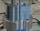 The LTCC sensor prototypes (in blue) before testing, installed in the supporting structure used in the tests