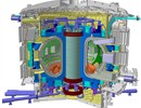 ITER Cryostat cutaway image highlighting in red the nine Pre-Compression Rings