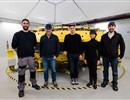 (L-R): C. Legros (CNIM), L. Semeraro (F4E), R. Besson (CNIM), A. Hernandez Sanchez (F4E), V. Lecuyer (Douce Hydro) at the ITER Pre-Compression Rings Facility, CNIM, La Seyne-sur-Mer, France.