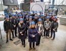 All actors involved in delivering the ITER vacuum vessel during their visit to the workshop of  MAN Diesel & Turbo SE in Deggendorf, Germany (copyright: Steve Schnieke).