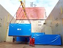 In total, 36 packages and the two lifting devices, together weighing a total of 322 tonnes, are now loaded on the ship (photo courtesy of DAHER).