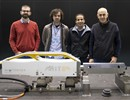 (L-R) J. Amoros Molinas, G. D' Amico (Fusion for Energy) with A. Brahim and F. Egaña (Tekniker), standing behind the Multi-Link inspection tool