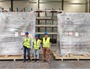 F. Albajar, F4E Technical Responsible Officer, Darshan Parmar, ITER Organization Technical Responsible Officer, Paco Sanchez Arcos, F4E Project Manager, supervising the delivery of Europe's first High Voltage Power supply unit delivered to ITER.