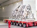 Lower segment of sector 5 of the ITER Vacuum Vessel loaded on a trailer to go through radio graphic tests. Works performed in Mangiariotti, located in Monfalcone, Italy. Europe is responsible for five out of the nine sectors of the component. F4E has signed a contract with the AMW consortium consisting of Ansaldo Nucleare, Mangiarotti, Walter Tosto.